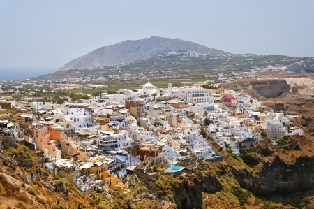A cityscape of Fira on the Greek island of Santorini. photo