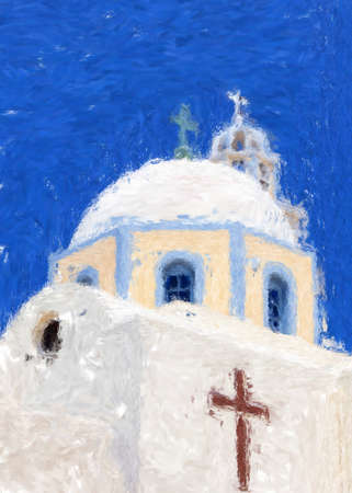 A painting of one of the churches on Santorini Stock Photo - 17980810