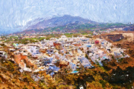 A painting of the town of Fira on Santorini. Stock Photo - 17980951