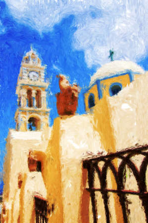 A painting of one of the churches on Santorini. Stock Photo - 17980980
