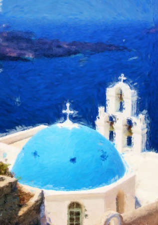 A painting of one of the churches on Santorini Stock Photo - 17980817