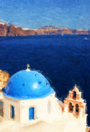 A painting of one of the churches on Santorini. Stock Photo - 17980813