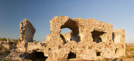 The ruins of the ancient Byzantine Hospital in Side, Turkey. photo
