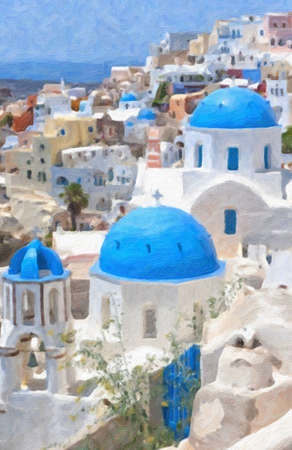 aegean sea: A digital oil painting of a few of the famous blue domed churches from Oia on the greek isle of Santorini