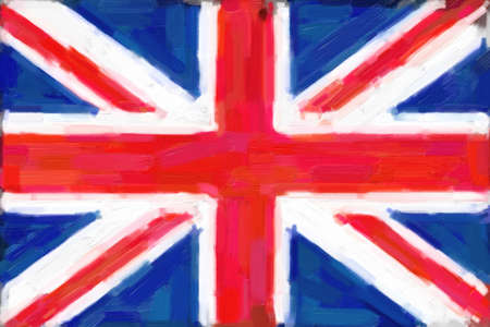 A digital painting of the union jack flag of Great Britian  photo