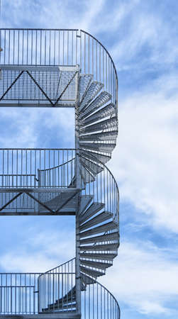 A typical metal fire escape on the side of a building