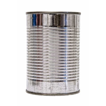 Een zilveren blikje geïsoleerd op een witte achtergrond. Stockfoto