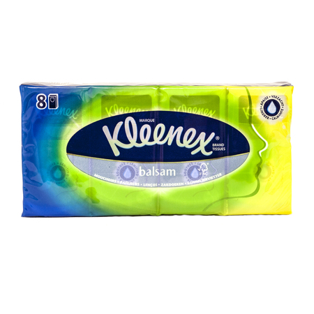 HELSINGBORG, SWEDEN - DECEMBER 29, 2013  An 8 pack of Kleenex pocket tissues  Kleenex is a brand name for a variety of paper-based products such as the facial pocket tissues shown here  Editorial