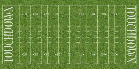 Een bovenaanzicht van een Amerikaanse voetbal veld met witte aftekeningen geschilderd op gras.