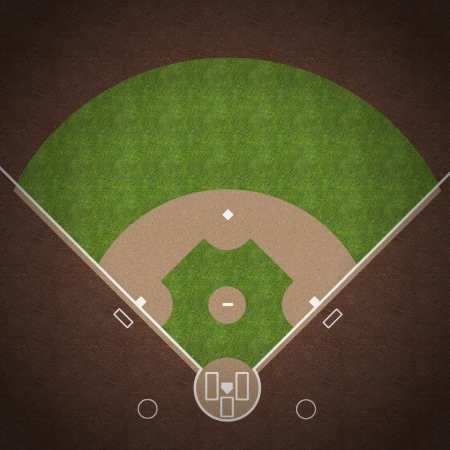 An overhead view of an american baseball field with white markings painted on grass and gravel. Imagens - 25082142