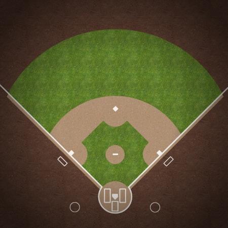 Een bovenaanzicht van een Amerikaanse honkbalveld met witte aftekeningen geschilderd op gras en grind.