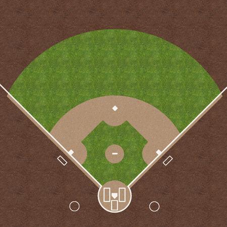 잔디와 자갈에 그려진 흰색 표시와 함께 미국 야구 필드의 오버 헤드보기. 스톡 콘텐츠 - 25082140