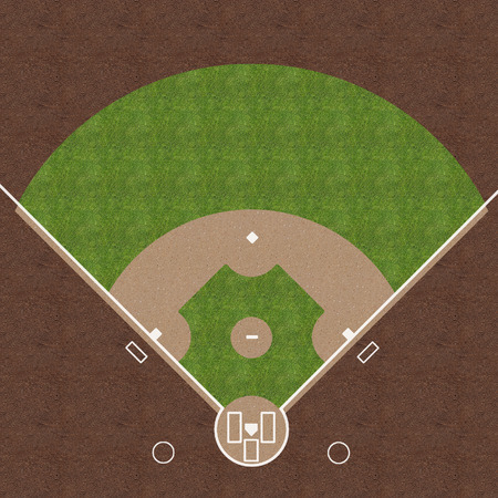 An overhead view of an american baseball field with white markings painted on grass and gravel.