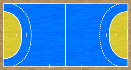 An overhead view of a handball court complete with markings.