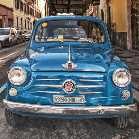 ROME- January 07:Italian classic Fiat 600 on January 07 2014 in Rome Italy.The Fiat 600 Seicento is a city car produced by the Italian manufacturer Fiat from 1955 to 1969.