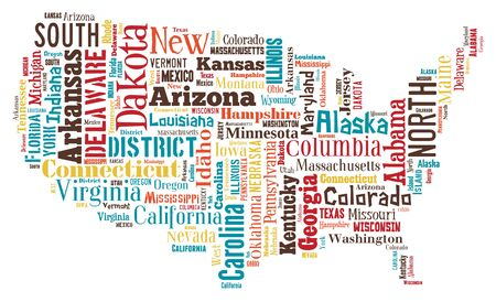 A wordcloud of the United States of America made from its cities and towns. Stock Photo