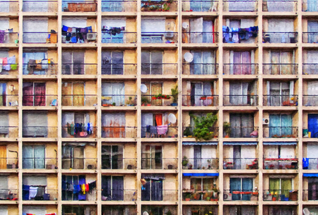A digital painting of a block of flats in the french city of Marseille.