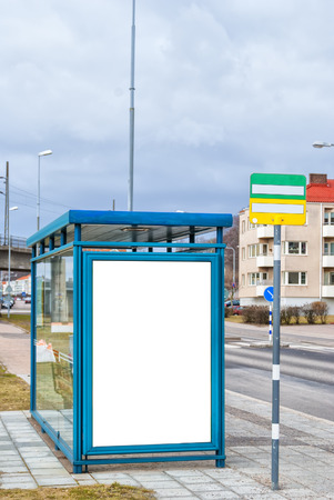 An image of a bus stop with a blank bilboard for your advertising situated in the swedish town of Helsingborg.