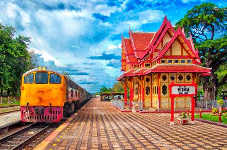 Une peinture numérique de la gare Hua Hin en Thaïlande. Banque d'images - 61544546