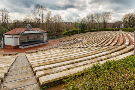 The Kelvingrove park bandstand situated in the west end area of Glasgow, Scotland. Stock Photo