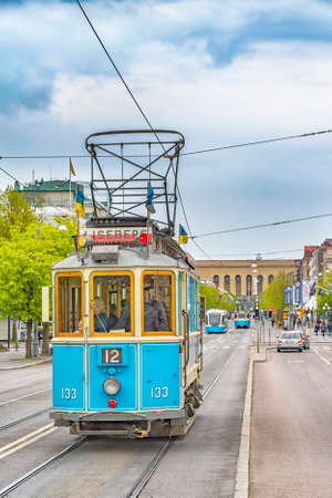 GOTHENBURG, SWEDEN - MAY 13, 2017: One of the iconic trams of Gothenburg in Sweden. Editorial