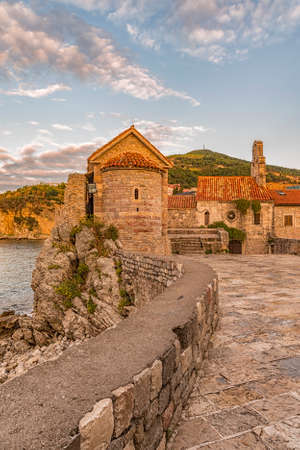 View of the The Saint Sava Church in the old town of Budva. Montenegro. Stock Photo