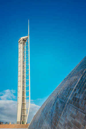 Landmark observation tower at Pacific Quay in Glasgow, Scotland