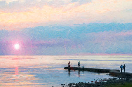 A digital painting of a group of people gathering to watch a spectacular sunset at Torekov in Sweden.
