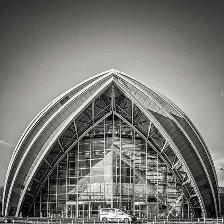 GLASGOW, SCOTLAND - JANUARY 17, 2018: A monochromatic view of the armadillo auditorium in Glasgow near to the river clyde.