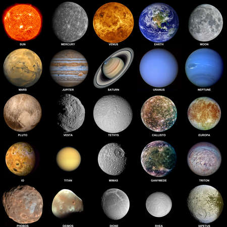 All of the planets that make up the solar system with the sun and prominent moons included. Stock Photo