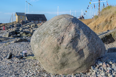 TOREKOV, SWEDEN - AUGUST 02, 2018: An image of the famous Stone of St Thora at Torekov on the Swedish coast.