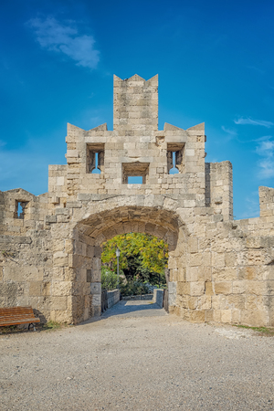 Saint Pauls gate is one of several city gates on the wall of Rhodes old town in Greece. Redakční