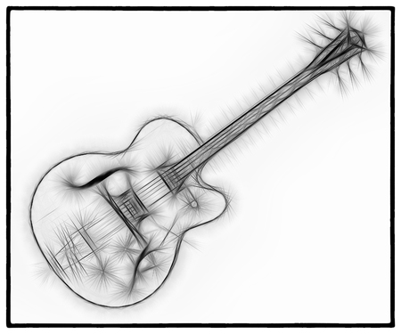 A fractal abstract black and white image of a classic electric guitar on a white background.