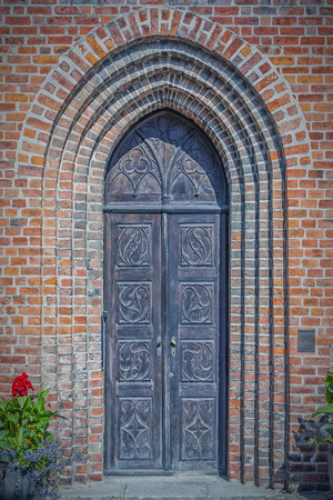 The entrance doorway to a church in the Swedish town of Ystad.