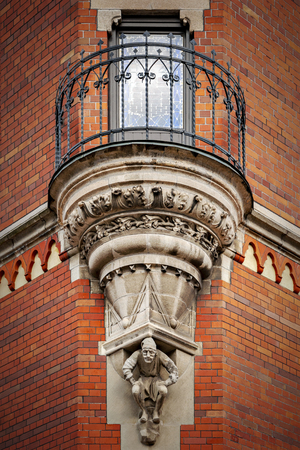 The elaborate balcony on the corner of the Helsingborg town hall in Sweden.