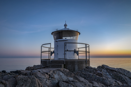 The smaller of two lighthouses situated at the coast of Kullaberg in the south west of Sweden.