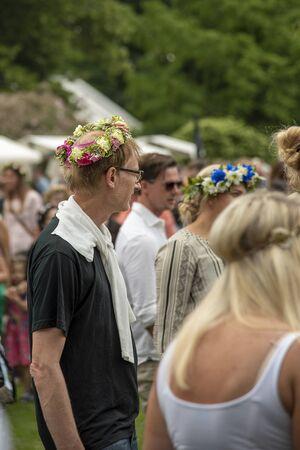 HELSINGBORG, SWEDEN - JUNE 21, 2019: A midsummer festival at sofiero castle near Helsingborg in Sweden. Editorial