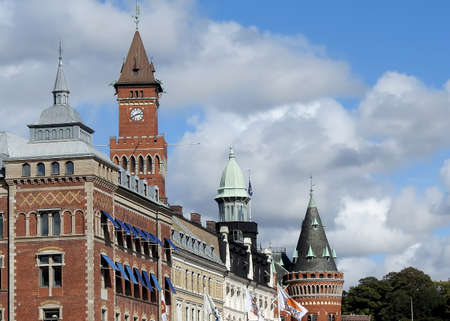 HELSINGBORG, SWEDEN - SEPTEMBER 06, 2020: The many towers that appear on the city skyline dominated by the town hall clocktower.