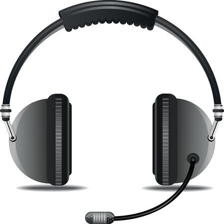 transcription: Headphone with microphone Illustration
