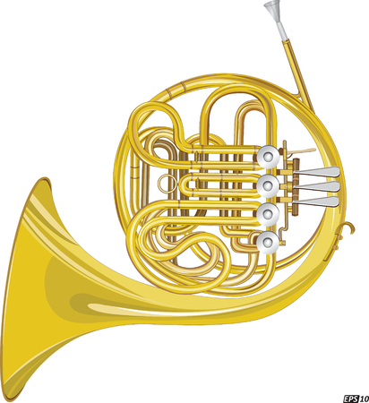 classical theater: Horn Instrument Illustration