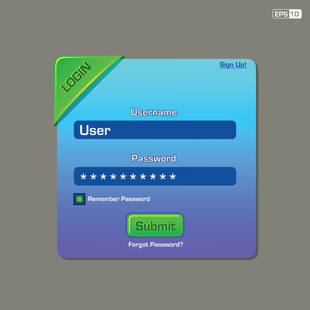 Log in interface Vector