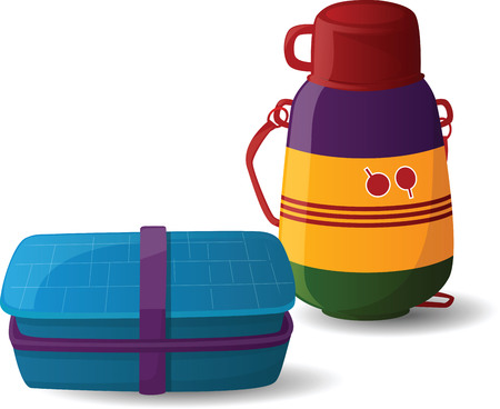 botella de plastico: Lunch Box y la botella de agua Vectores