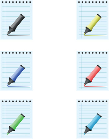 Notepad with different colored marker pens Vector