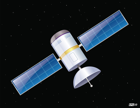 artificial satellite: Satellite in space Illustration