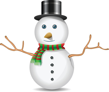 wintry: Snow Man Illustration