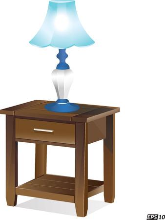 electric fixture: Lampada da tavolo su un tavolo di legno