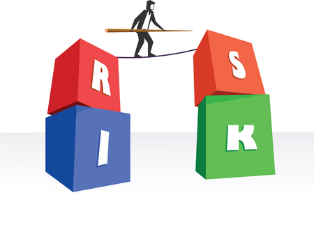 tight: Risk Management or Business man on a tight rope