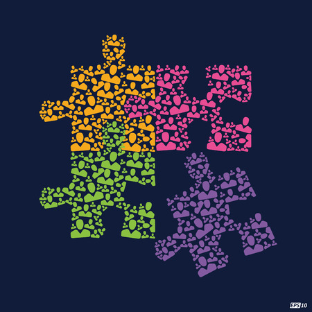 team problems: Team Work puzzle Illustration