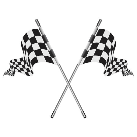 on a white background: checkered vector flags or reached the goal