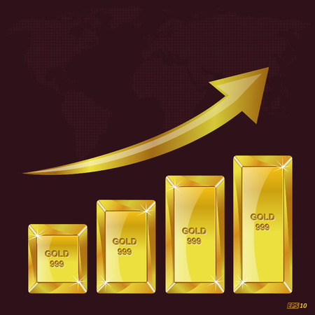 going up: Golden bar with chart going up Illustration